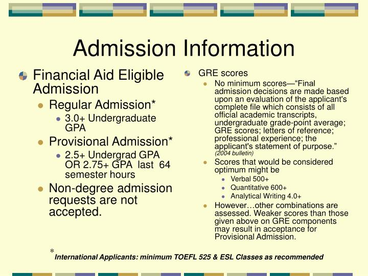 Financial Aid Eligible Admission