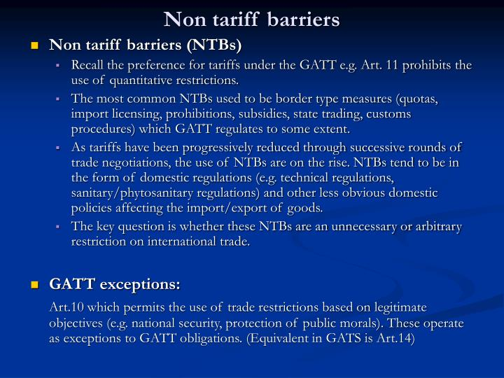 tariff barriers introduction Transatlantic disputes on non-tariff barriers to trade: from asbestos to the eu disputes on non-tariff barriers to measure to the introduction of an.