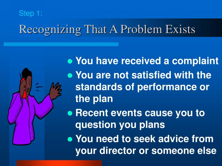 Recognizing that a problem exists
