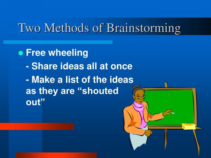 Two Methods of Brainstorming