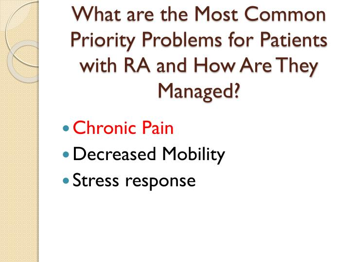 What are the Most Common Priority Problems for Patients with RA and How Are They Managed?