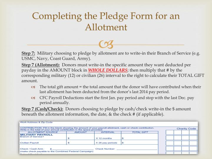 Completing the Pledge Form for an Allotment