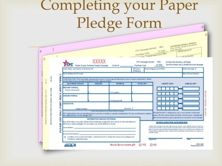 Completing your Paper Pledge Form