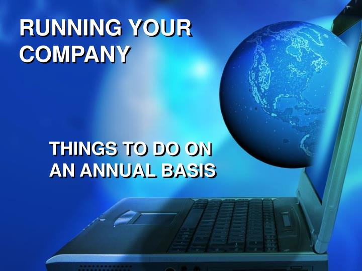 RUNNING YOUR COMPANY