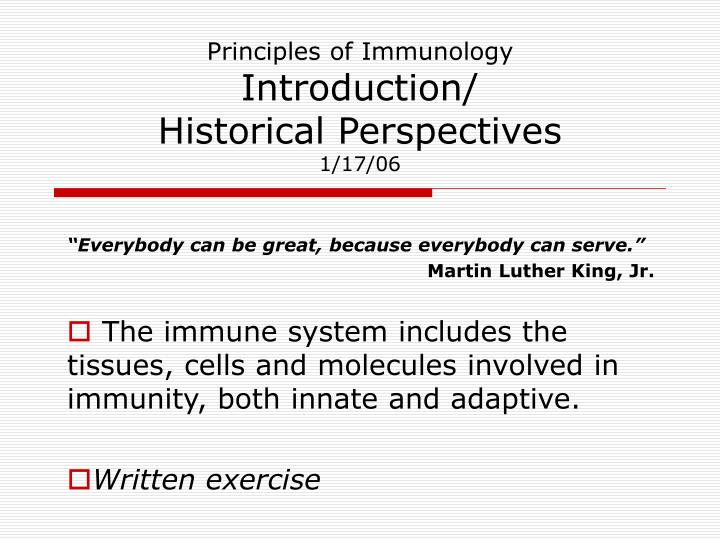 principles of immunology introduction historical perspectives 1 17 06 n.