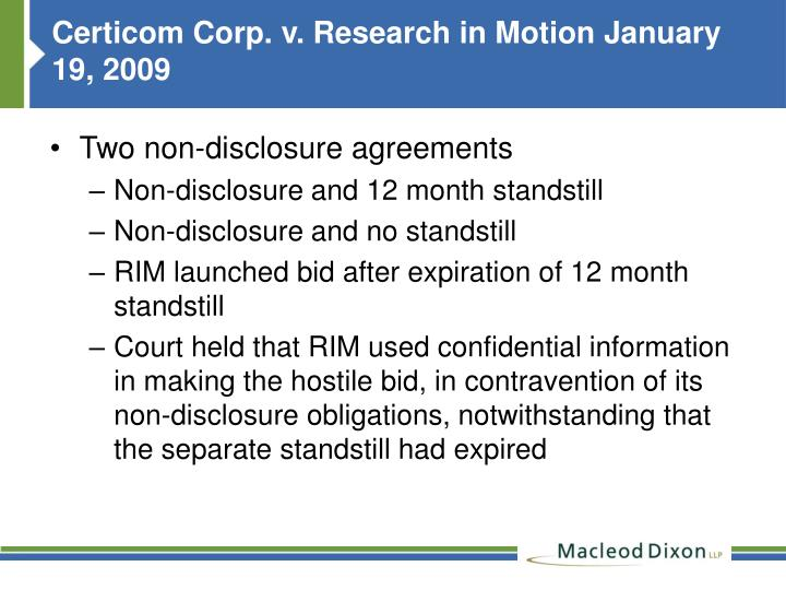 Certicom Corp. v. Research in Motion January 19, 2009