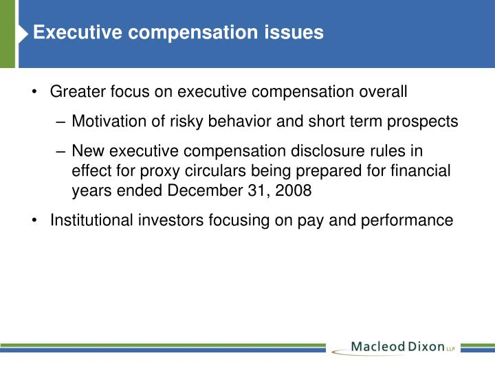 Executive compensation issues