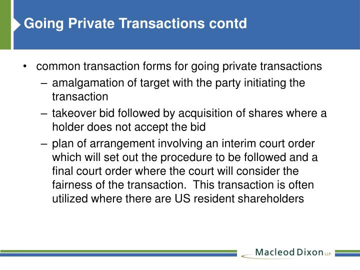 Going Private Transactions contd