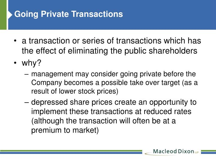 Going Private Transactions