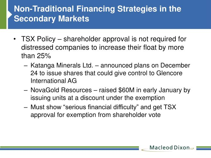 Non-Traditional Financing Strategies in the Secondary Markets