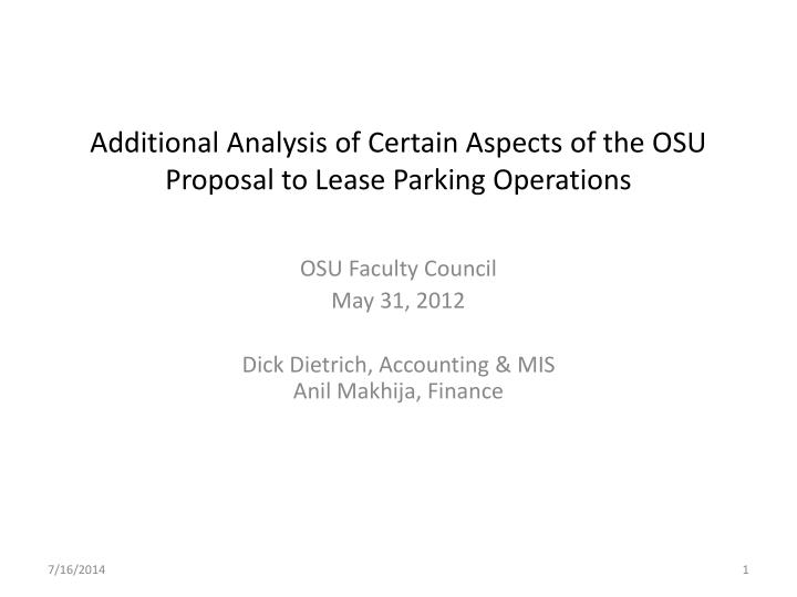 additional analysis of certain aspects of the osu proposal to lease parking operations n.