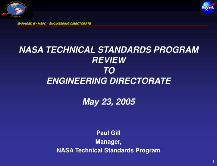 paul gill manager nasa technical standards program n.