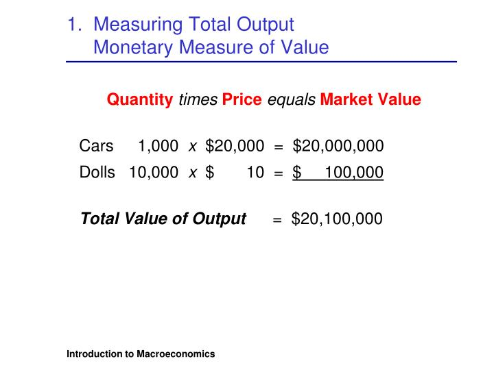 1.  Measuring Total Output