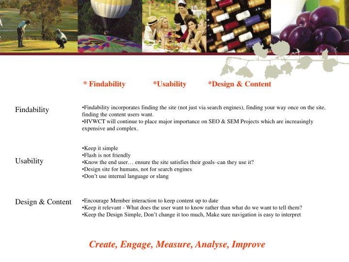 * Findability	*Usability           *Design & Content