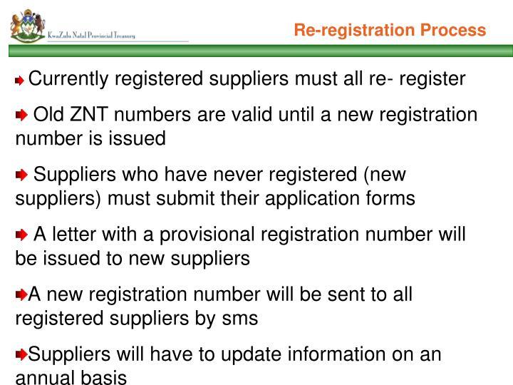 Re-registration Process