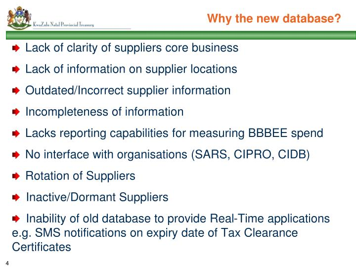 Why the new database?