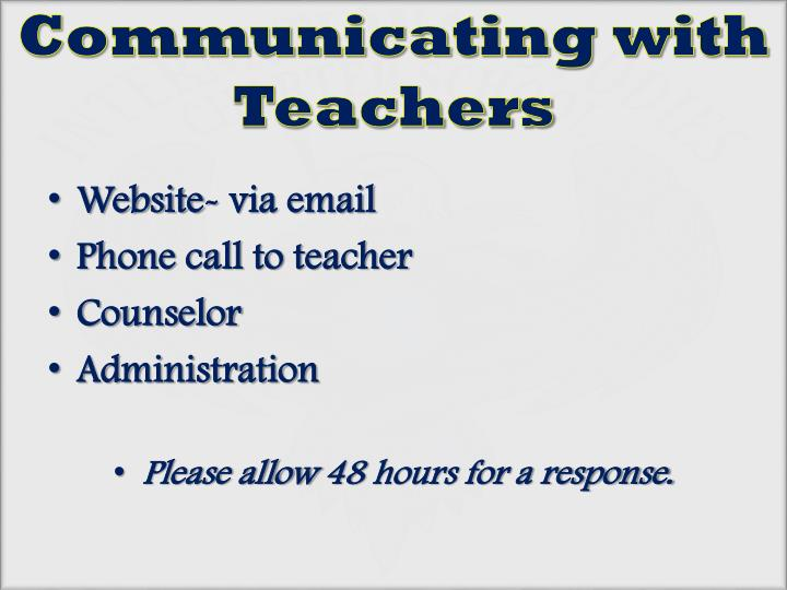 Communicating with Teachers