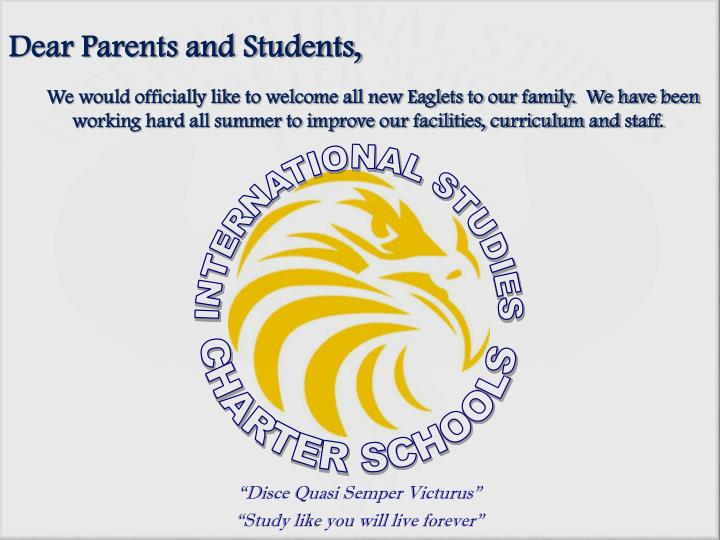 Dear parents and students