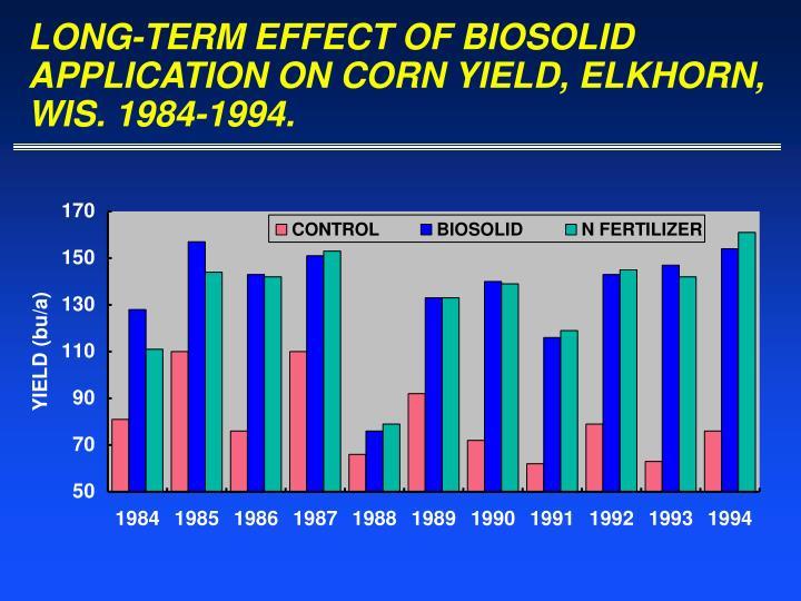 LONG-TERM EFFECT OF BIOSOLID APPLICATION ON CORN YIELD, ELKHORN, WIS. 1984-1994.