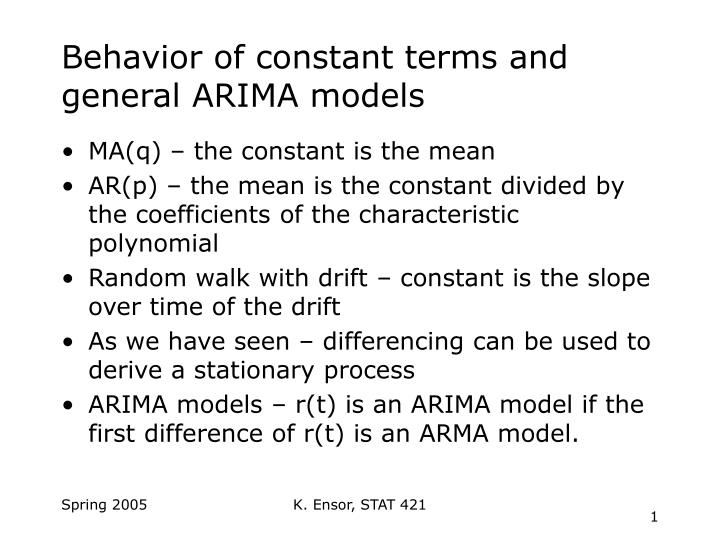 behavior of constant terms and general arima models n.