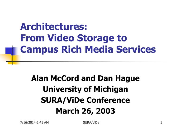architectures from video storage to campus rich media services n.