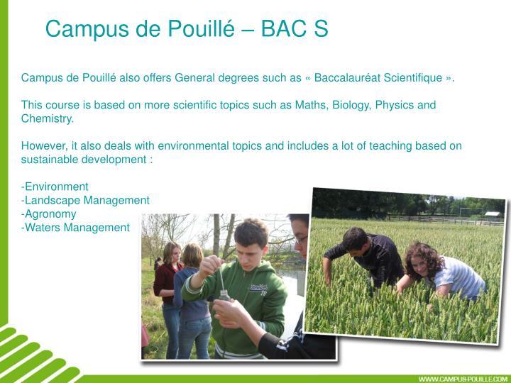 Campus de Pouillé – BAC S