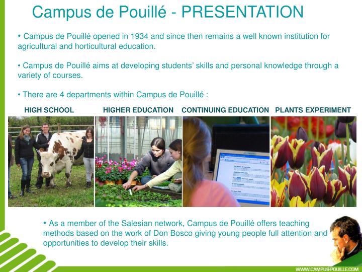 Campus de Pouillé - PRESENTATION