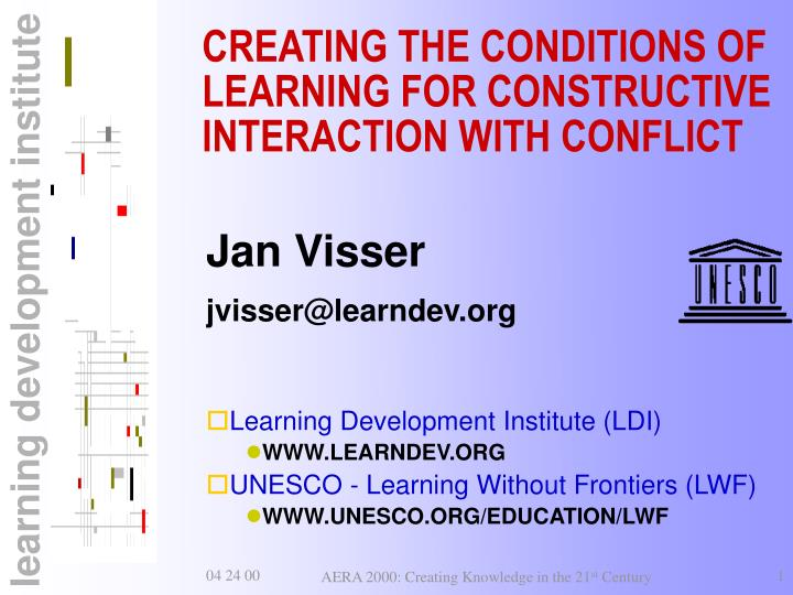 Creating the conditions of learning for constructive interaction with conflict