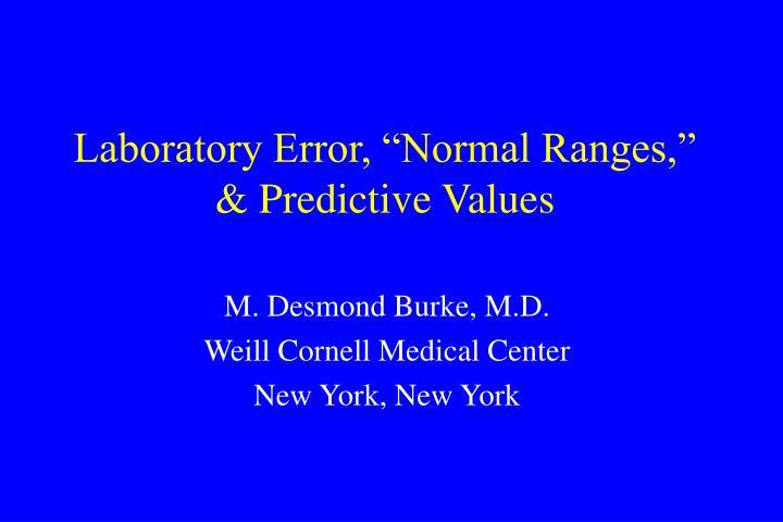 Laboratory error normal ranges predictive values