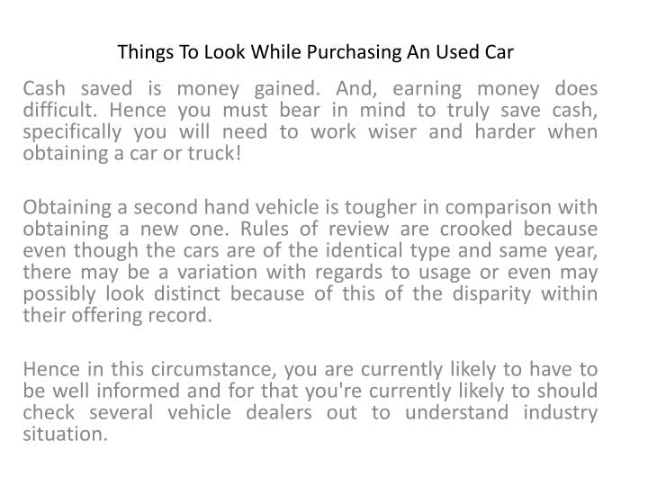 things to look while purchasing an used car n.