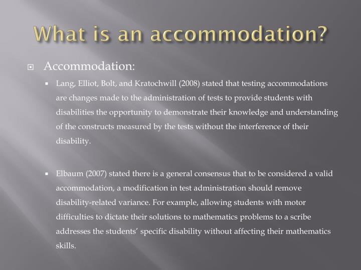 what is an accommodation n.