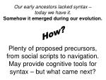 our early ancestors lacked syntax today we have it somehow it emerged during our evolution