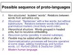possible sequence of proto languages