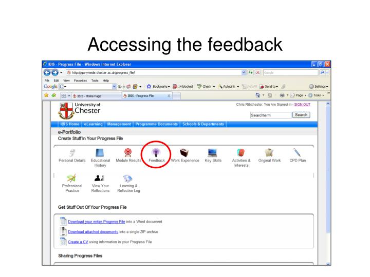 Accessing the feedback