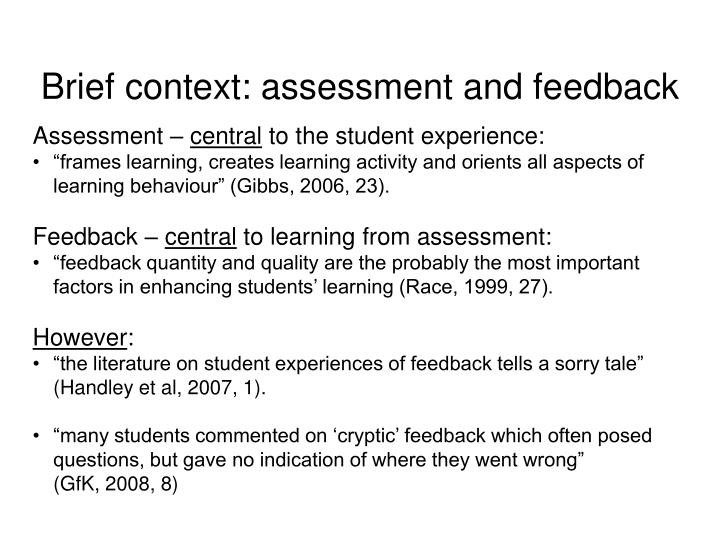 Brief context: assessment and feedback