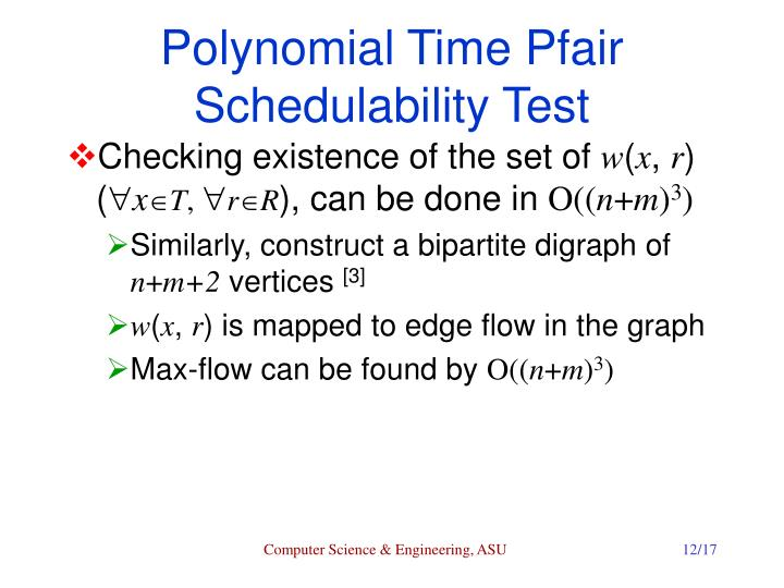 Polynomial Time Pfair Schedulability Test