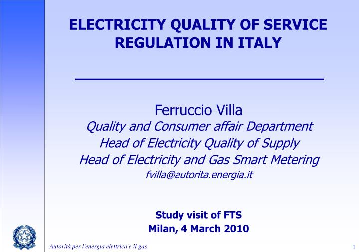 electricity quality of service regulation in italy n.