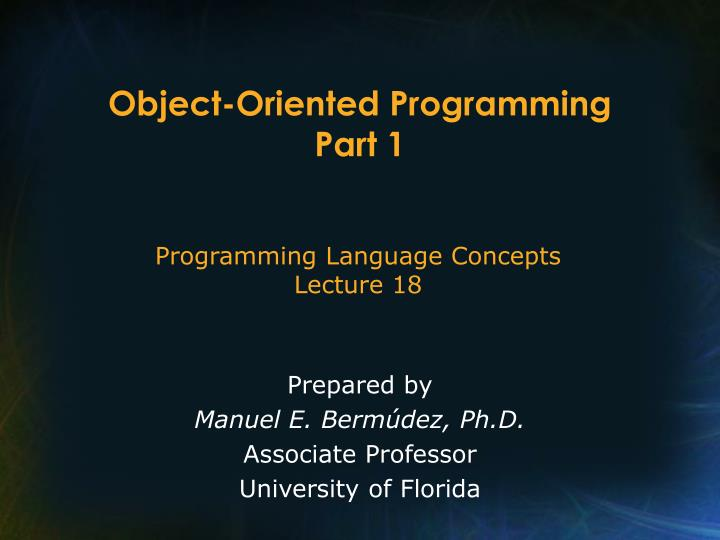 object oriented programming part 1 n.
