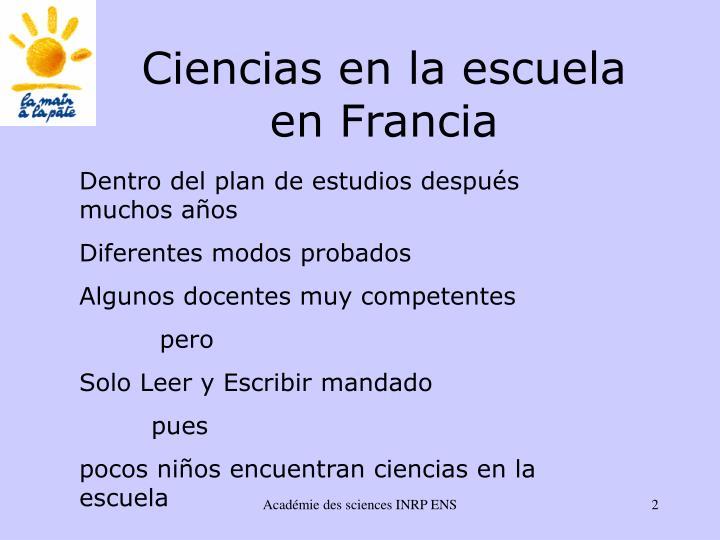 Ciencias en la escuela en francia