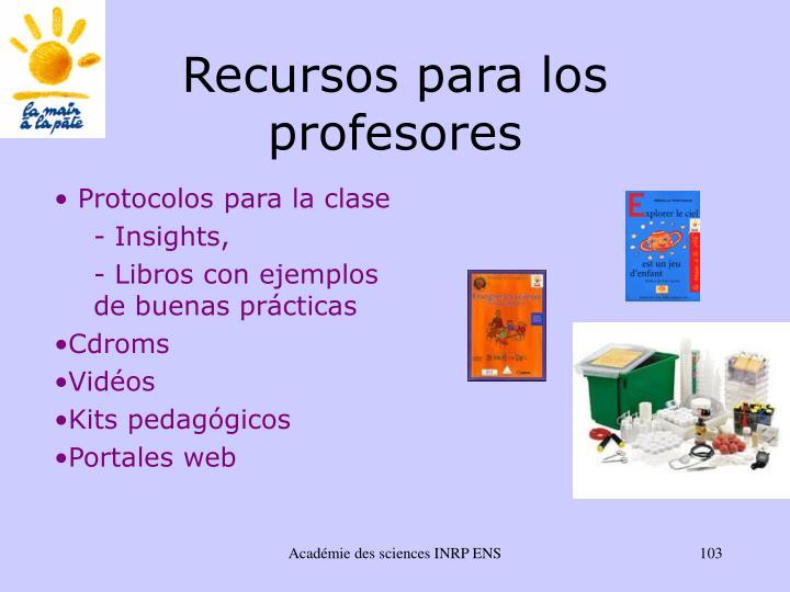 Recursos para los profesores