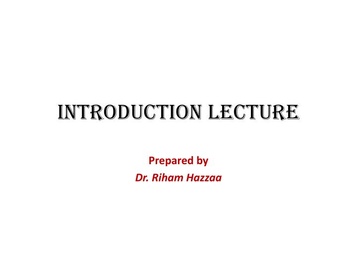 introduction lecture n.
