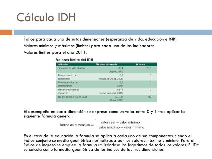 Cálculo IDH