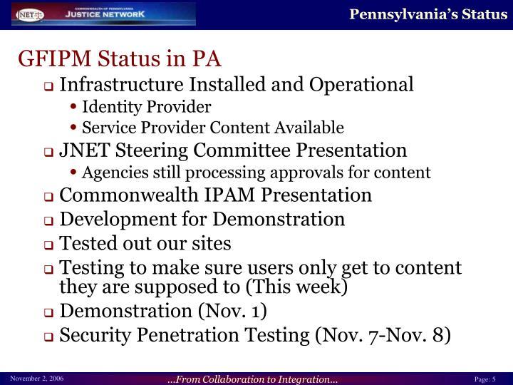 Pennsylvania's Status