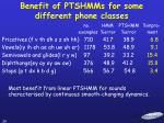 benefit of ptshmms for some different phone classes