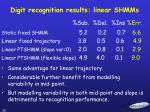 digit recognition results linear shmms