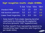digit recognition results simple shmms