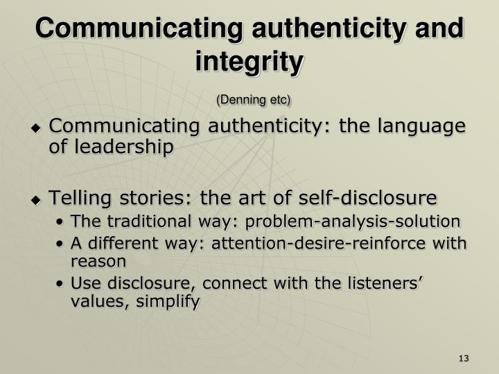 Communicating authenticity and integrity
