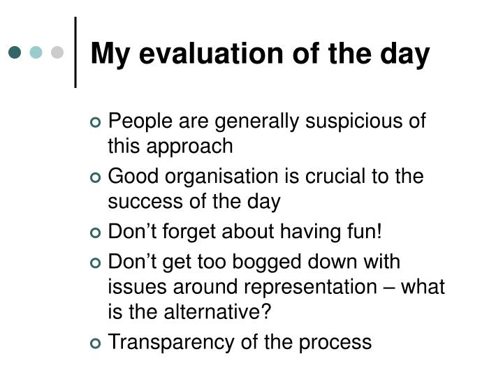 My evaluation of the day