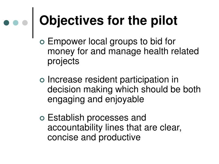 Objectives for the pilot