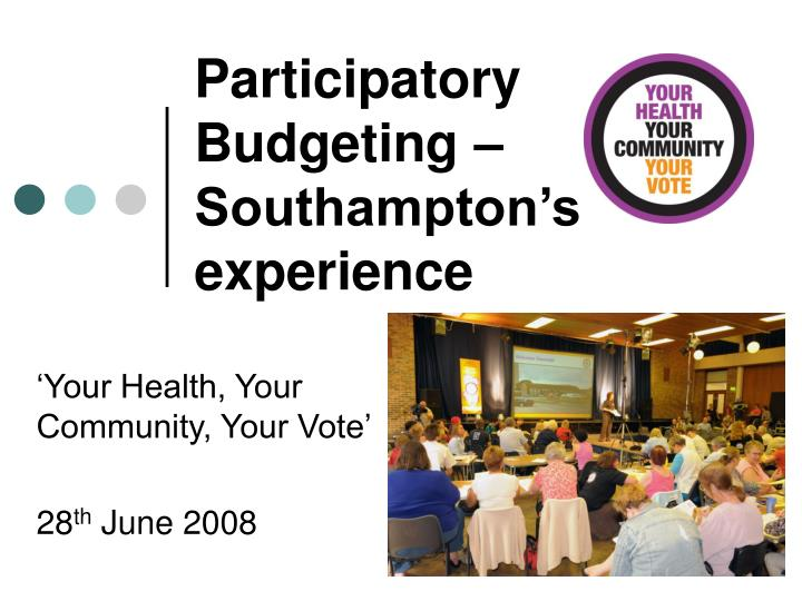 Participatory budgeting southampton s experience